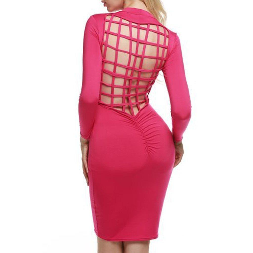 Zeagoo Women Sexy Back Mesh Bandage Club Bodycon Midi Dress, Rose Red, M