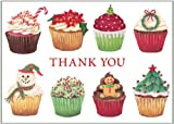 Entertaining with Caspari Christmas Cupcakes Thank You Notes, Set of 8