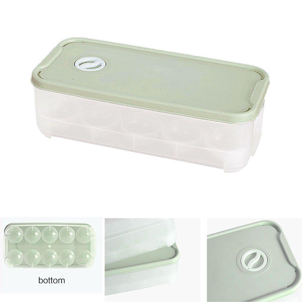 Baffect Nevera Huevo Cajas Almacenamiento 10 Rejillas Huevo Bandejas Case contenedor Plástico Hogar Cocina Comida Refrigerador Recién-Singal layer (Verde)