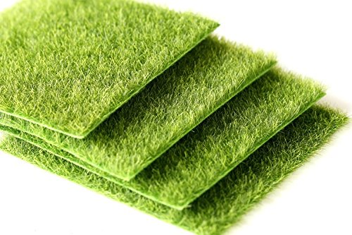 SUN-E 4 Pcs Life-Like Fairy Artificial Grass 6''x 6'' Miniature Ornament Garden Dollhouse Garden DIY Grass