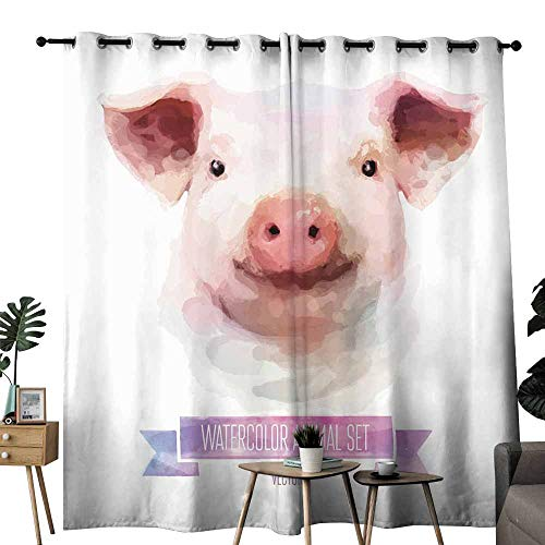 duommhome Fresh Curtains Vector Set of Animals. Pig Hand Painted Watercolor Illustration Isolated on White Background Set of Two Panels W84 x L108