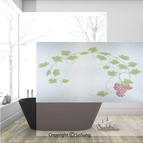 (3D Decorative Privacy Window Films,Curved Ivy Branch Deciduous Woody Wines Seed Clusters Cabernet Kitchen,No-Glue Self Static Cling Glass Film for Home Bedroom Bathroom Kitchen Office 36x24 Inch)