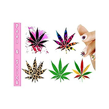 Pot Leaf Marijuana Mix Weed Nail Art Decal Sticker By Southern
