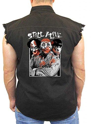 The Three Stooges Denim Vest Still Alive Zombie Attack Mens Sleeveless S-3XL -