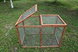 ECOLINEAR Outdoor 40'' Wooden Run Cage Chicken Coop Hen House Poultry Pet Hutch Garden Backyard (Run Cage)