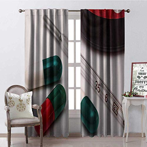 Hengshu Pills Thermometer Blackout Window Curtain Customized Curtains W84 x L96