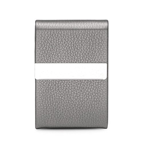 Teemzone Professional Business Name Card Holder Case Genuine Leather & Stainless Steel Multi Credit Card Holder ID Case Keep Cards in Immaculate Condition, for Men & Women, with Magnetic Shut (Gray)