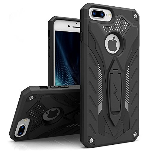 Zizo Static Series Compatible with iPhone 8 Plus Case Military Grade Drop Tested with Kickstand iPhone 7 Plus iPhone 6 Plus Case Black Black