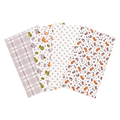 Trend Lab Wild Bunch Flannel Burp Cloth Set, 4 Piece