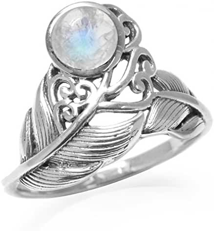 Natural Moonstone White Gold Plated 925 Sterling Silver Feather Victorian Style Ring