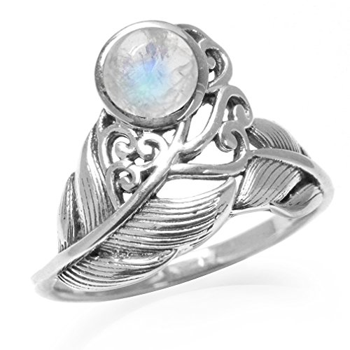 Victorian Style Ring (Natural Moonstone White Gold Plated 925 Sterling Silver Feather Victorian Style Ring Size 5)