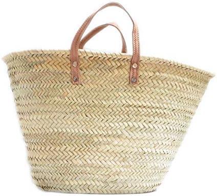 Capazo de Palma básico, con Asas Corta de Cuero curtido rústico. Cesto o Bolso de Mimbre para la Playa, Fibras Naturales. (10V, Aprox. 51x31 cm)