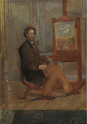Oil painting `ジェームズ・アンソール–アンソール1890`印刷ポリエステルキャンバスに彼のイーゼルの前で、、16x 23インチ/ 41x 58cm、最高のダイニングルームアートワークとホームギャラリーアートとギフトはこのVividアート装飾キャンバスプリントの商品画像
