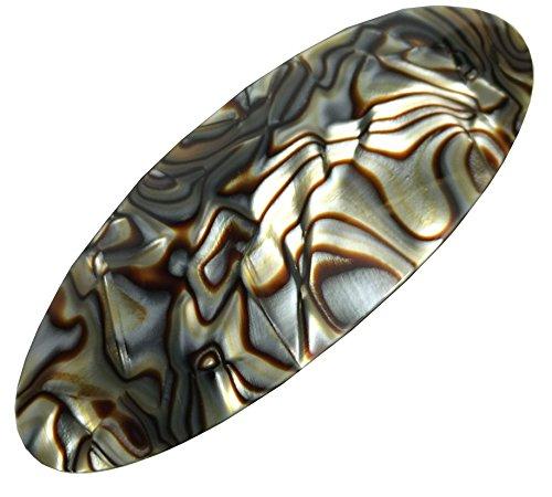 (French Amie Fine Oval Medium Celluloid Handmade Onyx Silver Grey Automatic Hair Clip Barrette (Onyx Silver)