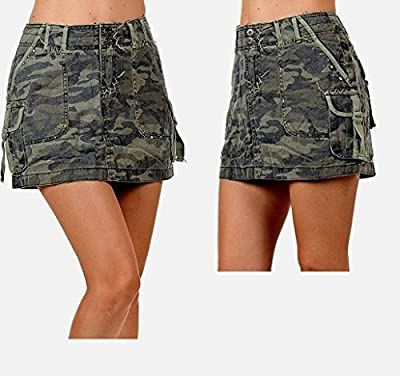 Lucy Collection Ladies Sexy A-Line Army Camo Camouflage Jean Cargo Mini-Skirt