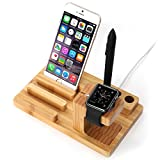 iClever [3-in-1] Bamboo Wood Charge Dock Stand for Apple Watch / Tablet (iPad Pro, Air, Mini) / Smartphones (iPhone 6S, 6S Plus, Galaxy S6 Edge) / Pen Holder