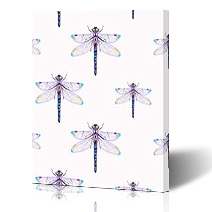 Amazon Com Canvas Print Wall Art Embroidery Beautiful Dragonfly