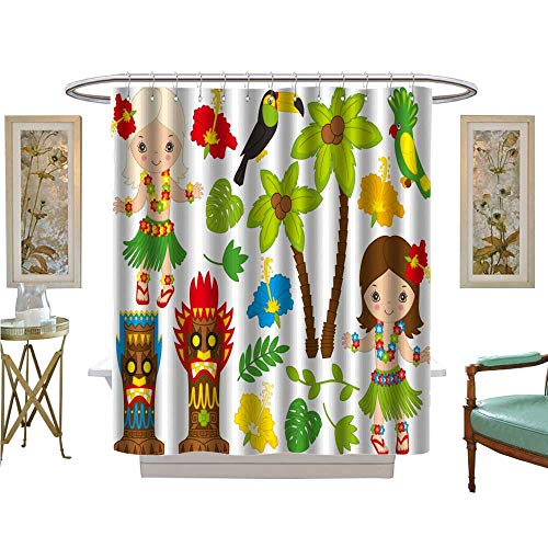 luvoluxhome Shower Curtain Collection by Vector Hawaiian Little Girl in Grass Skirt, with Hibiscus in Hair and Flower Patterned Shower Curtain W54 x L78