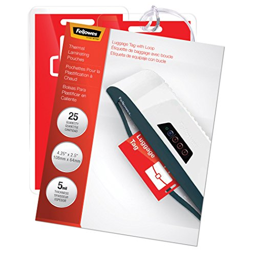 Fellowes Laminating Pouches, Thermal, Luggage Tag with Loop, 5 Mil, 25 Pack...