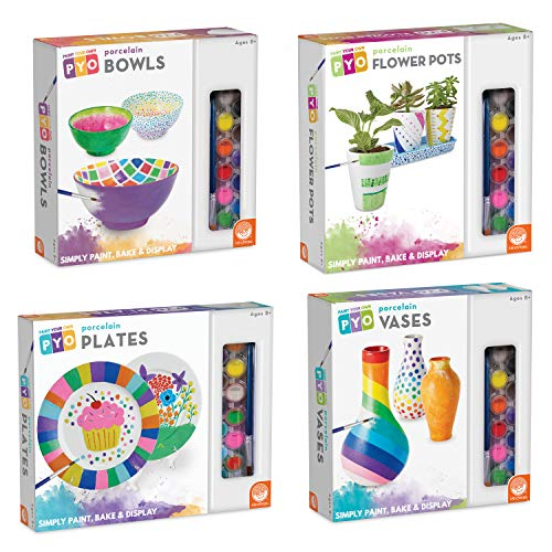 MindWare Paint Your Own Porcelain Plates, Bowls, Vases and Pots: Gift Set of 4