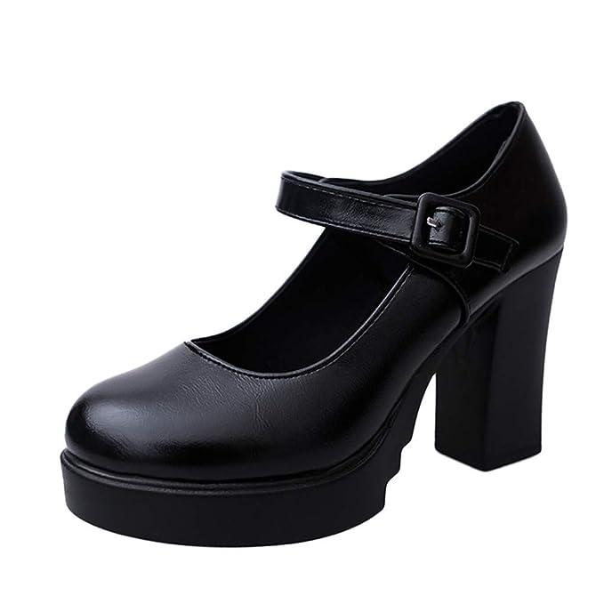 Zapatos de Tacón Plataforma Impermeable ZARLLE Correa de Hebilla Mujer Plataforma Cuero de Nubuck Tacones de Bombas Zapatos de Sujetador Fiesta Mujeres Que ...