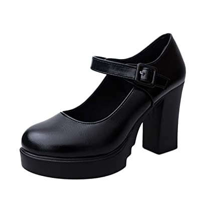 1b0498fc0b Limsea Women Work Shoes Elegant Casual High Heel Thick Heels Platform Ankle  Buckle Strap Pumps 5.5