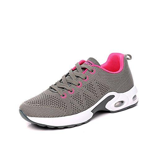 Monrinda Women's Air Running Trainers Ladies Lightweight Shock Absorbing Sneakers Mesh Breathable Outdoor Casual Walking Shoes Gym Fitness for Girls Dark Grey