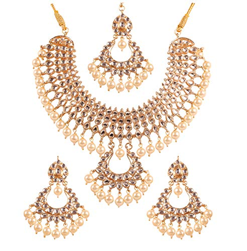 Touchstone New Contemporary Kundan Collection Indian Bollywood Majestic Mughal Round Pear Square Shape Kundan Look Faux Pearls Designer Jewelry Wedding Necklace Set in Gold Tone for Women.