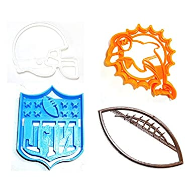 MIAMI DOLPHINS NFL FOOTBALL LOGO HELMET SET OF 4 SPECIAL OCCASION COOKIE CUTTERS BAKING TOOL 3D PRINTED MADE IN USA PR1140