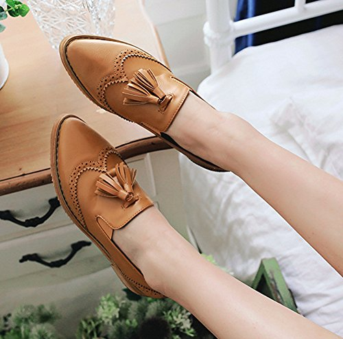 Easemax Mode Féminine Rétro Bout Pointu Coupe Basse Lacets Oxford Chaussures Avec Pompon Marron