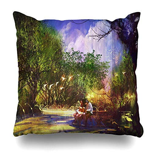 Ahawoso Throw Pillow Cover Eternal Couple Placedigital Paintingoutdoor Green in Place Digital Painting Parks Design Decorative Pillowcase Square Size 16