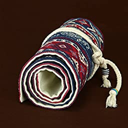 Artify 48 Colored Pencil Roll Up Canvas Wrap Pouch Holder Burgundy Elephant Print| Anti-Pilling Design and Thick Canvas| Environmental-Friendly Material( Pencils are not Included)