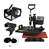 Happybuy Heat Presses 5 in 1 Digital Industrial Quality Heat Press Machines 12x15 Inch Swing Away Heat Press for Tshirts Caps Mugs (5 In 1)