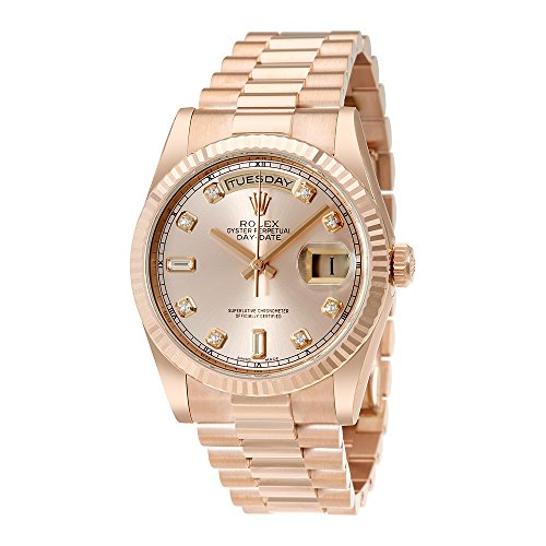 Rolex Day-Date Pink Dial 18K Everose Gold President Automatic Ladies Watch 118235PDP (Rolex Pink Gold)