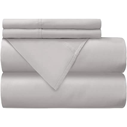 Mellanni 100% Cotton Bed Sheet Set   300 Thread Count Sateen Weave    Natural,