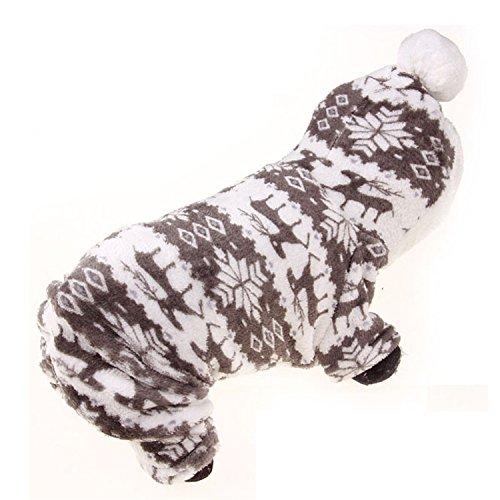 English Bulldog Costumes (HuoGuo NEW Autumn Winter Pet Dog Clothes Warm Fleece Print Hoodies Coat Clothing for Small Large Breeds Dog Pet Clothes Coat Costume Grey M)