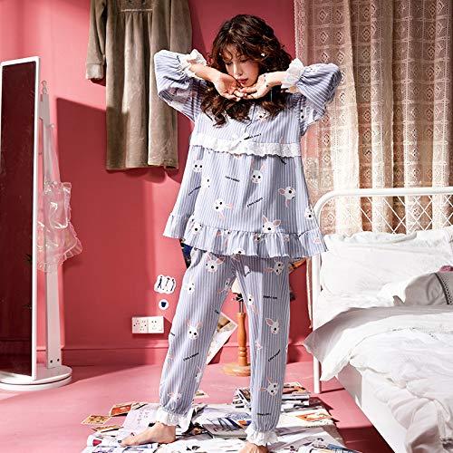 Notte Cotone Due Pezzi Donna Primavera GZZ Notte Pigiameria Principessa Pigiami Camicie Da Autunno Pigiama Da Girocollo M Lunghe Maniche Da Donna 1PfOXP