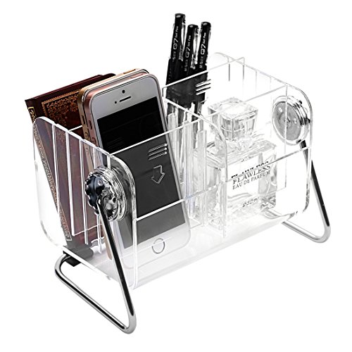 - Ivosmart Clear Desktop Acrylic TV Remote Control Mobile Phone Storage Holder Organizer Caddy