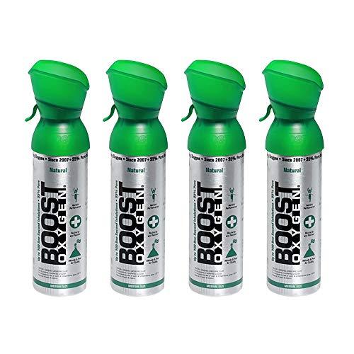 Boost Oxygen Natural Portable Canned O Oxygen Canister Inhaler Bottle, 5 Liters (4 Pack)