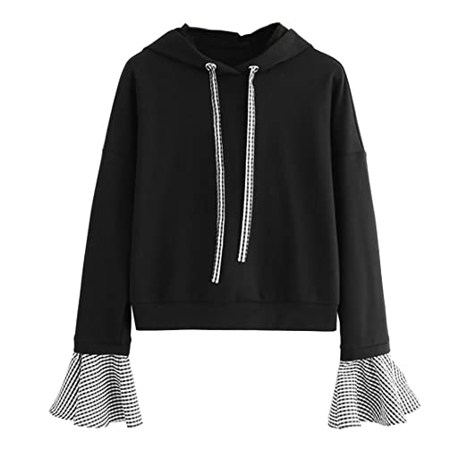 Elogoog Women Long Sleeve Lattice Hooded Blouse Casual Splice Sweatshirt  Pullover Hoody Tops at Amazon Women s Clothing store  fd7855878
