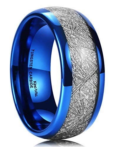 King Will Meteor 8mm Blue Tungsten Carbide Ring Meteorite Inlay Domed High Polished Wedding Band - Tungsten Ceramic