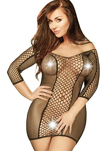 453245f8058c6 Valencia Plus Size Black Lingerie Dress Lacy Fishnet Stockings For Curvy  Women Sleepwear (Black)