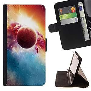 BullDog Case - FOR/Samsung Galaxy S6 EDGE / - / red planet explosion galaxy universe art /- Monedero de cuero de la PU Llevar cubierta de la caja con el ID Credit Card Slots Flip funda de cuer