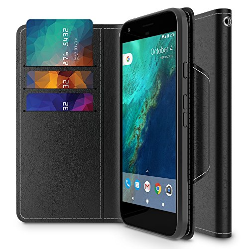 Google Pixel Wallet Case, Maxboost [Folio Style] Premium Google Pixel Card Cases STAND Feature [Black] Protective PU Leather Flip Cover with Card Slot + Side Pocket Magnetic