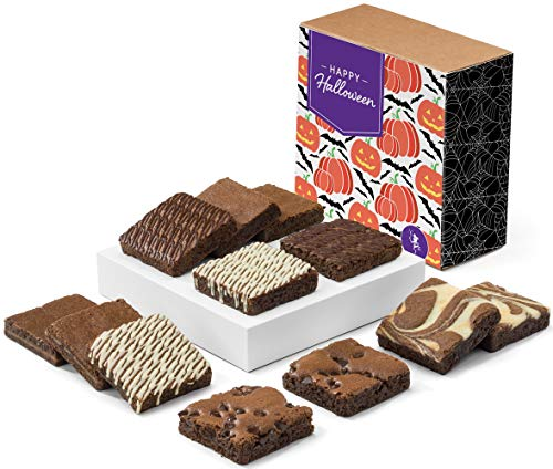 Fairytale Brownies Halloween Nut-Free Dozen Gourmet Chocolate Food Gift Basket - 3 Inch Square Full-Size Brownies - 12 Pieces - Item CL122 -
