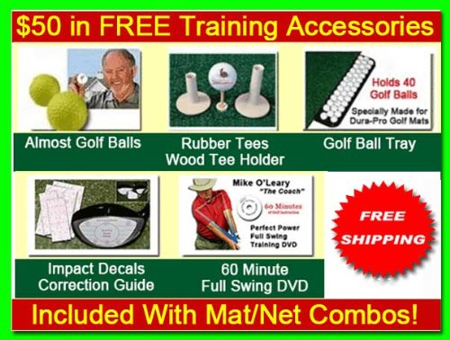 Golf Mat Golf Net Combo 9' x 10' High Velocity Impact Panel and a 4' x 6' Residential Golf Mat, Free Ball Tray/Balls/Tees/60 Min. Full Swing Training DVD/Impact Decals and Correction Guide With Every Order. Everything You Need In One Package by Dura-Pro G