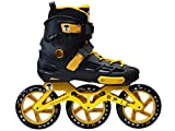 Epic Skates Epic Engage 125mm 3-Wheel Inline Speed Skates, Black/Gold, Adult 11