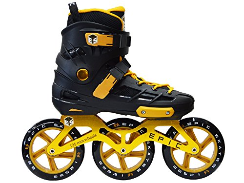 - Epic Skates 125mm Engage 3-Wheel Inline Speed Skates, Black/Gold, Adult 7
