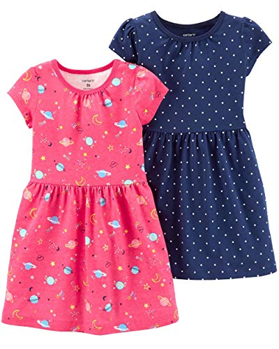 (Carter's Baby Girls' 2-Pack Dress Set (9 Months, Pink Space/Navy Dots))