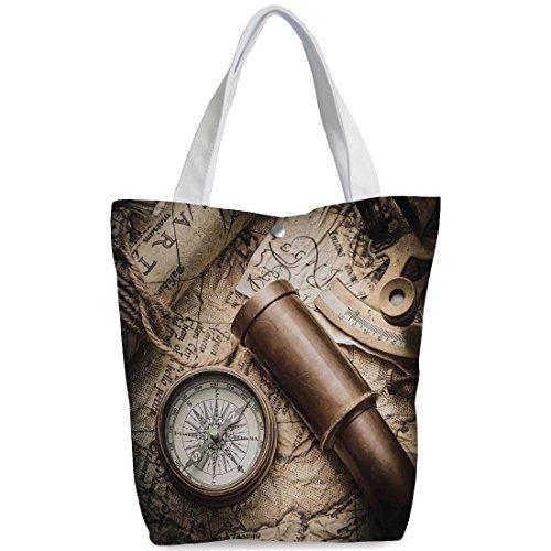 Canvas Shopping bag,shoulder handbags,Shoulder Bag,Compass Decor,Vintage Still Life with Compass Sextant Spyglass and Old Map Marine Life Artwork Print,Brown Beige,Unique Durable Canvas Tote (Spy Brown Handbag)